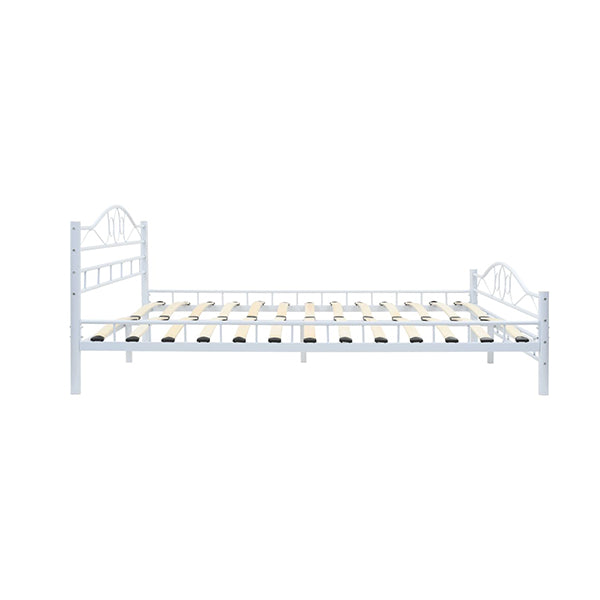 Bed Frame Slatted Base 153X203 Cm Curl Design White Queen Size