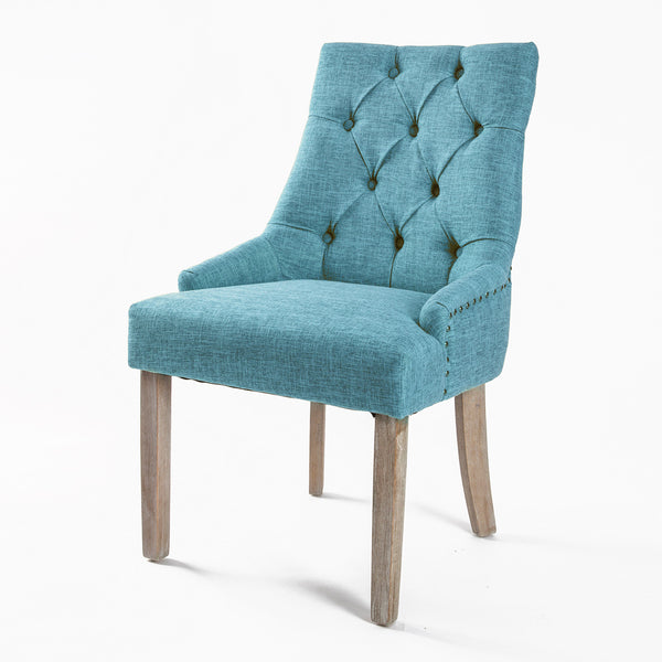 French Provincial Oak Leg Chair Amour Blue