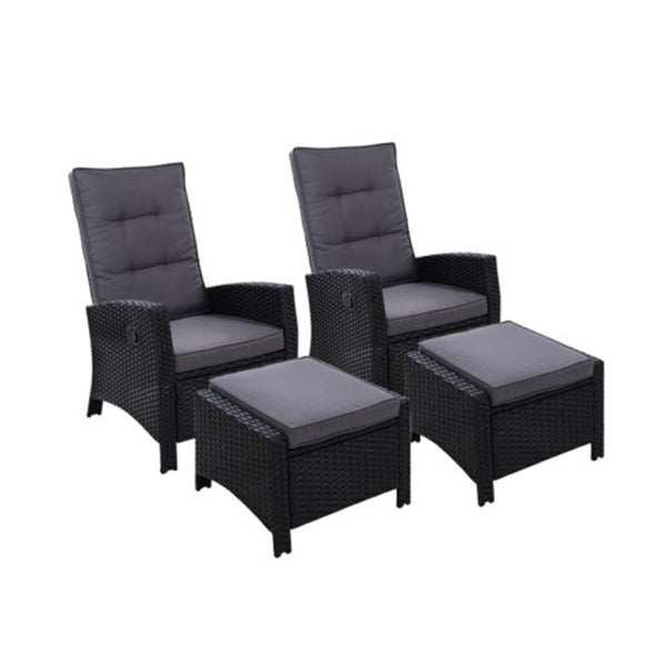 2 Pc Sun Lounge Recliner Chair Wicker Outdoor Furniture Garden Black