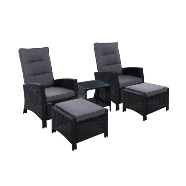 Outdoor Patio Furniture Recliner Chair Table Setting Wicker Lounge 5Pc