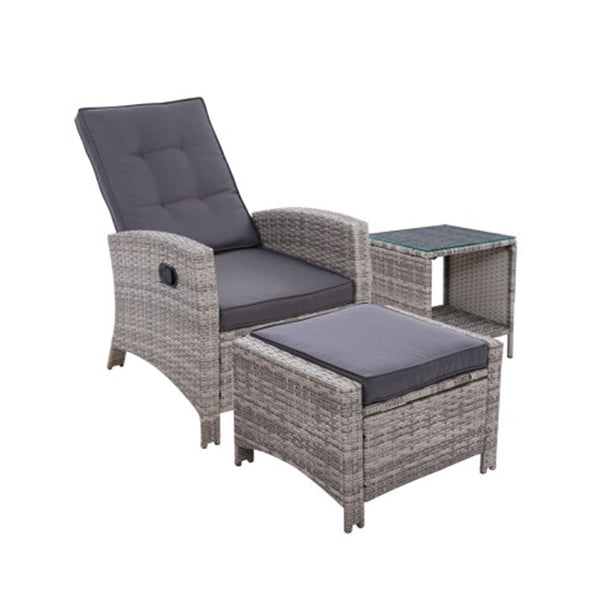 Outdoor Setting Recliner Chair Table Set Wicker Lounge Patio Furniture