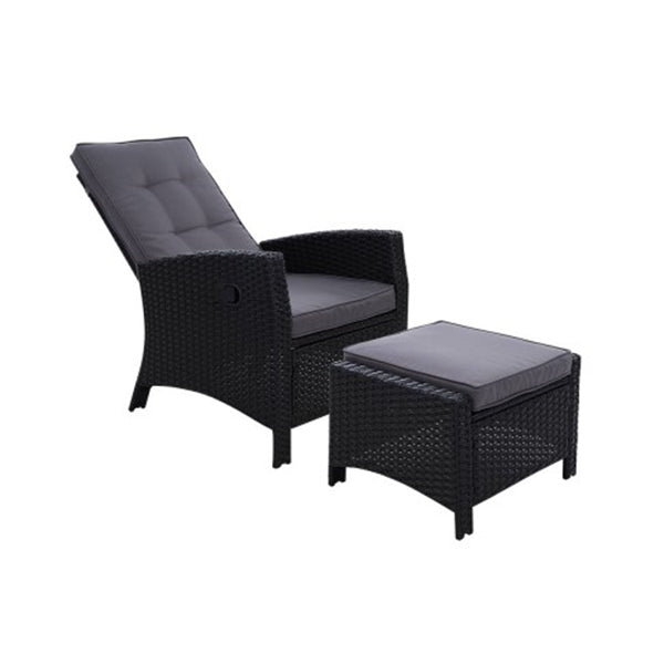 Recliner Chair Sun Lounge Wicker Outdoor Furniture Garden Ottoman