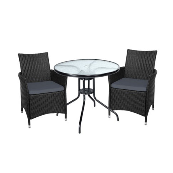 Outdoor Furniture Dining Chair Table Bistro Set Wicker Cafe Bar Set