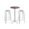 Outdoor Bistro Set Bar Table Stools Adjustable Aluminium Cafe 3Pc Wood