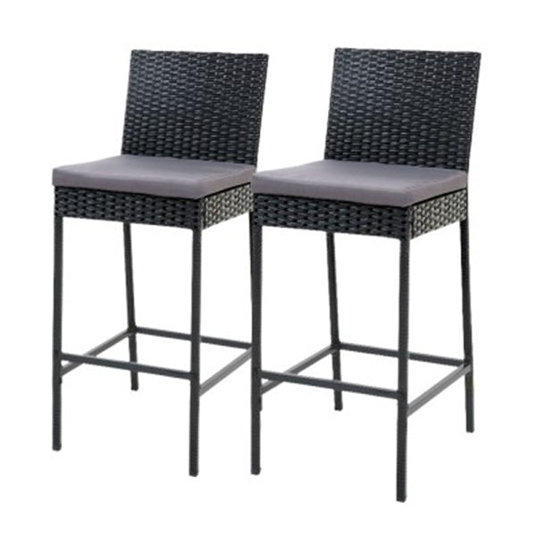 Outdoor Bar Stools Dining Chairs Rattan Furniture X2