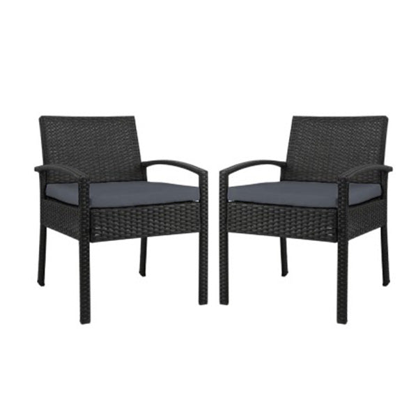2X Outdoor Dining Chairs Wicker Lounge Bistro Set Cafe Cushion Black