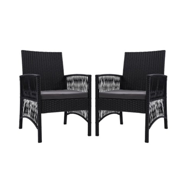Outdoor Furniture Dining Chairs Rattan Garden Patio Cushion Black X2