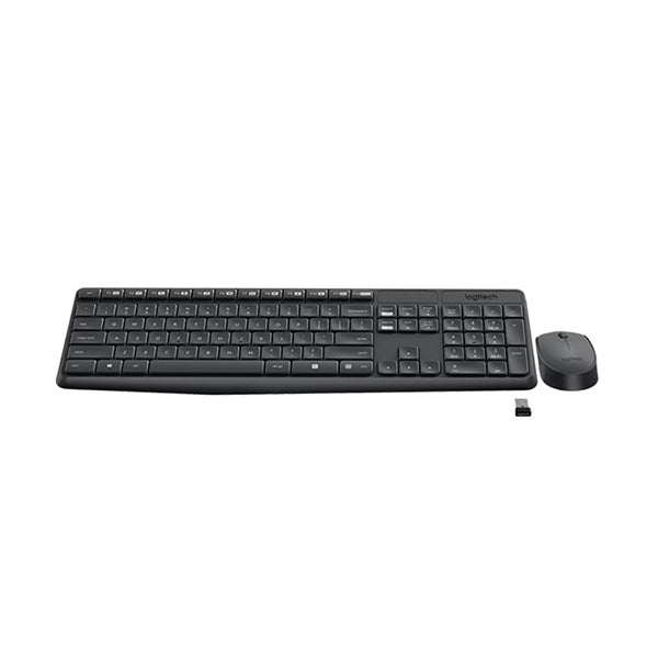 Logitech Wireless Keyboard and Mouse MK235 USB Receiver Full Size