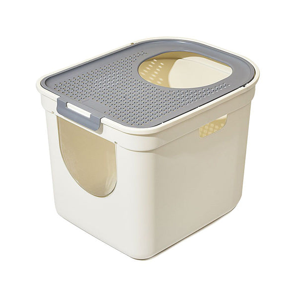 Cat Litter Box Fully Enclosed Kitty Toilet Trapping Tray Odor Control