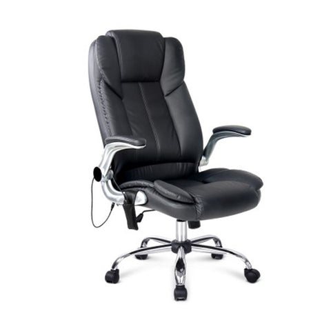 8 Point Pu Leather Massage Chair Black