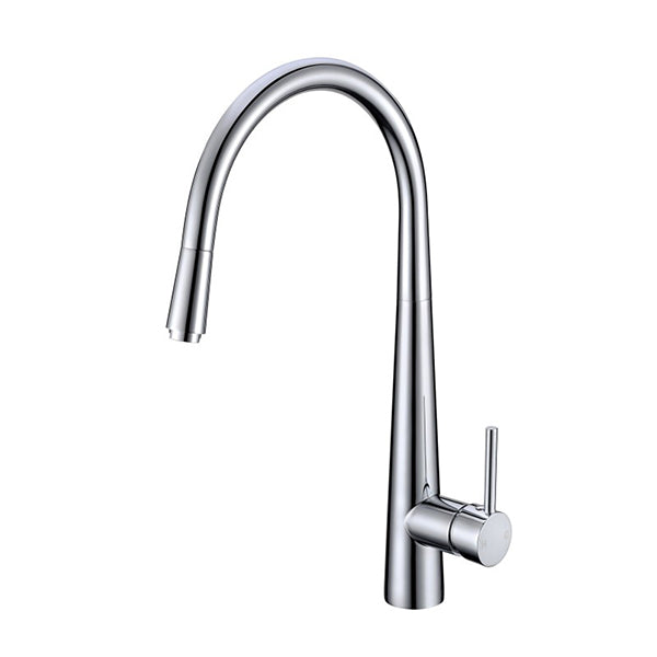 Round Chrome 360 Degree Swivel Pull Out Kitchen Sink Mixer Tap Brass