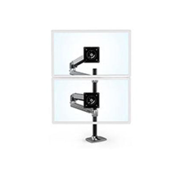 Ergotron Lx Dual Stacking Arm Tall Pole Black Accents Polished