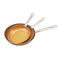 3 Pcs Ceramic Copper Non Stick Frying Pan Set