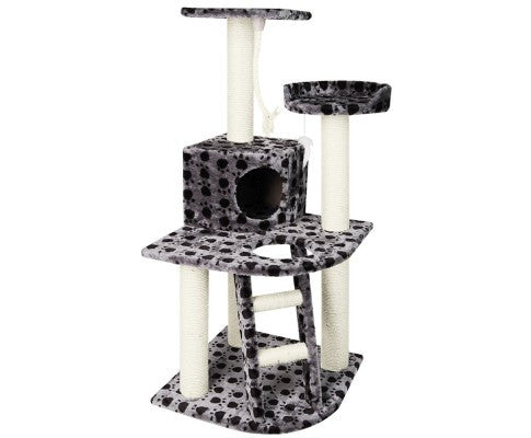 Cat Tree 120Cm Scratching Post Tower Condo House Furniture Wood