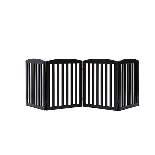 Freestanding Wooden Pet Gate 4 Panel Foldable Fence