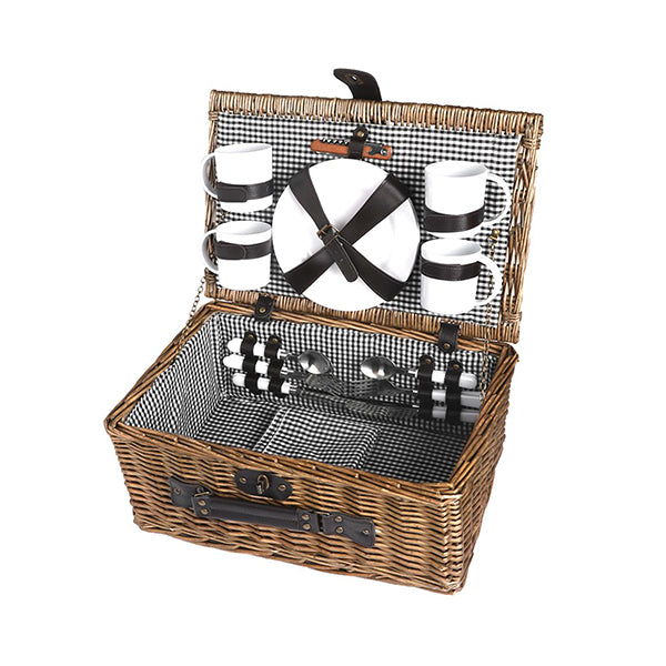 Picnic Basket Set 4 Person Willow Baskets Deluxe Outdoor Camping