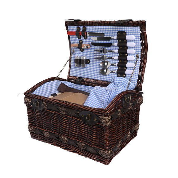 Picnic Basket Set 2 Person Willow Deluxe Outdoor Camping Blanket
