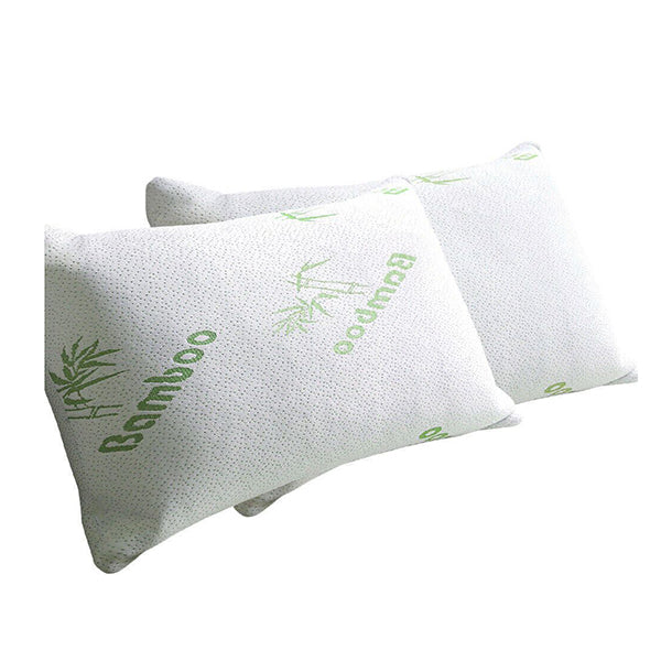 2X Luxury Natural Memory Foam Bed Pillows Bamboo Fabric Cover 70X40 Cm