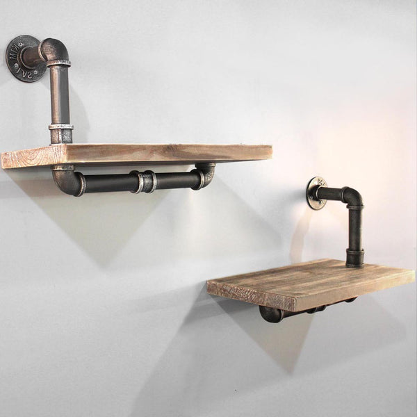 2x Rustic Industrial DIY Floating Pipe Shelf