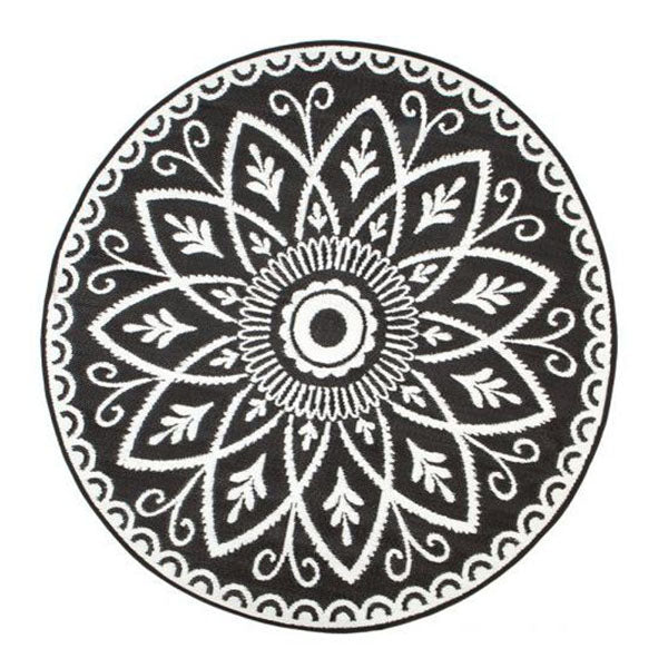 Benaras Black And White Round Recycled Plastic Outdoor Rug And Mat