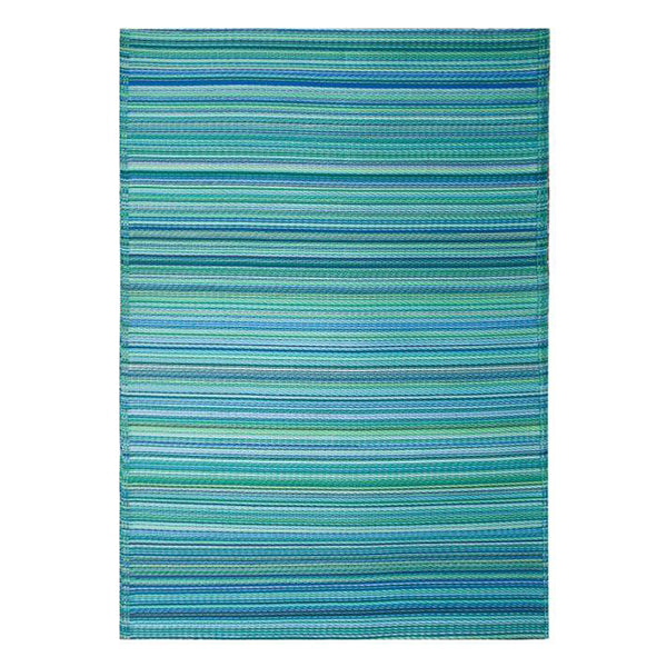 Cancun Aqua Recycled Plastic Outdoor Rug and Mat