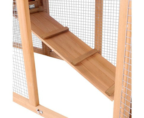 Rabbit Hutch Chicken Coop Guinea Pig Ferret House with 2 Storeys Run