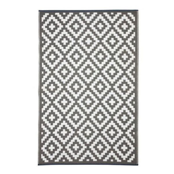 Aztec Grey And White Recycled Plastic Outdoor Rug and Mat