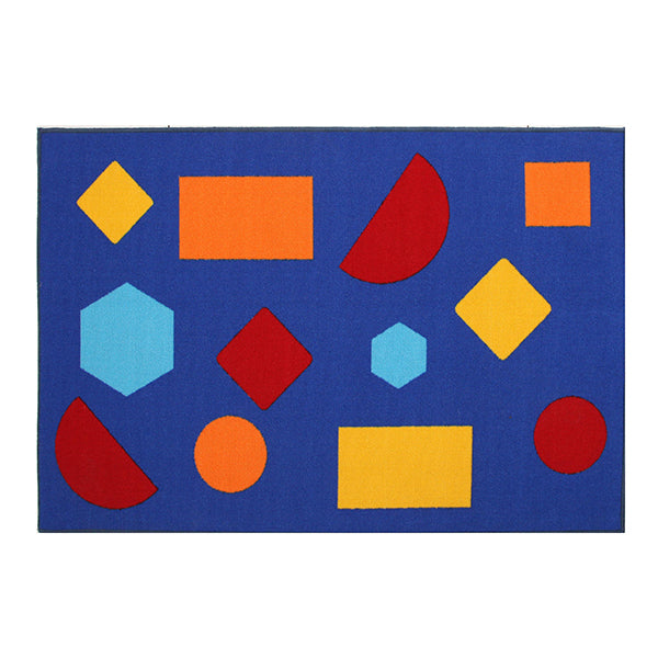 Little Circus Shapes Blue Nylon Power Loomed Rug 150X100 Cm