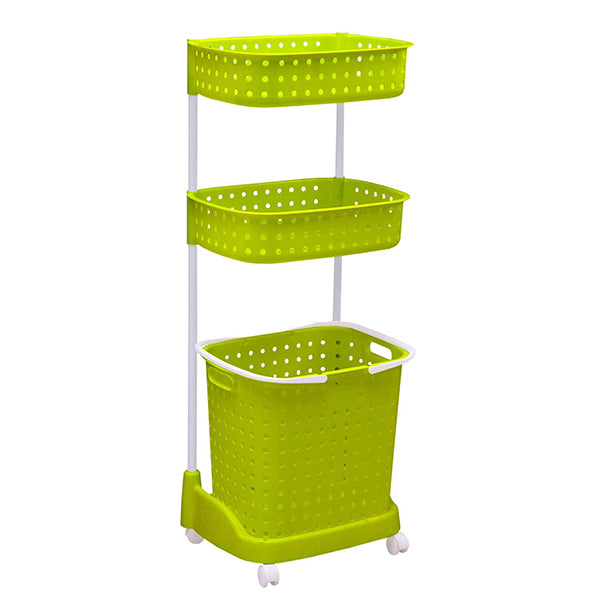 2 Tier Bathroom Laundry Clothes Basket Bin Removable Shelf