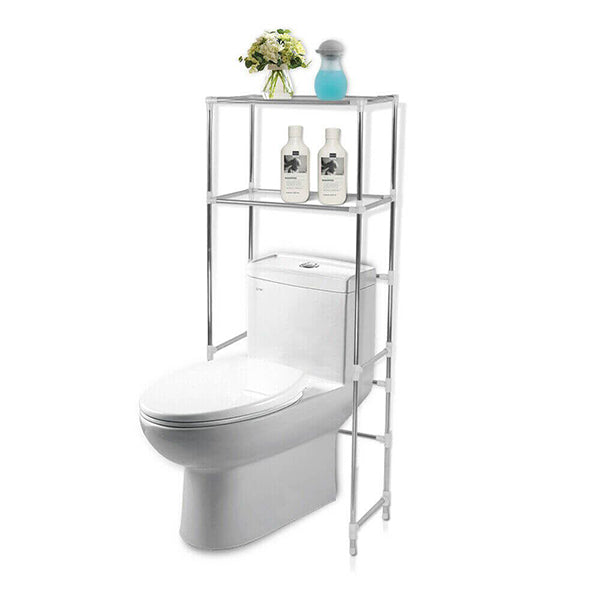 2 Tier Toilet Bathroom Laundry Storage Rack Shelf Unit Organizer