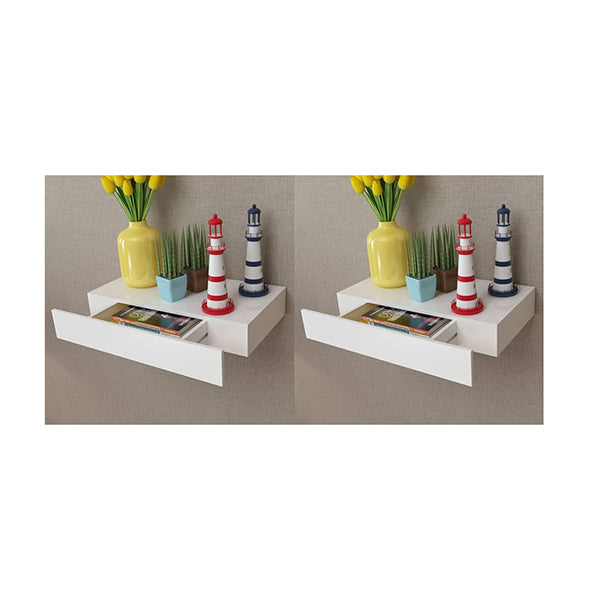 Floating Wall Shelves With Drawers 2 Pcs White