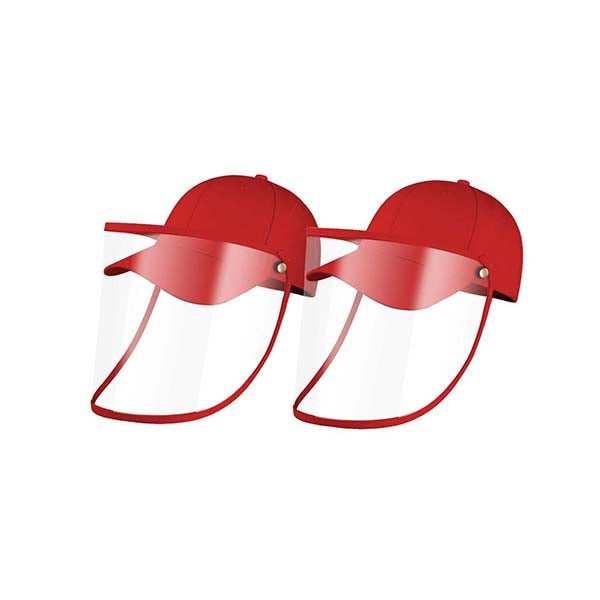 2X Outdoor Hat Anti Fog Dust Saliva Cap Face Shield Cover Kids Red