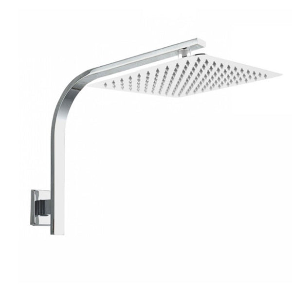 250 Mm Super Slim Square Chrome Rainfall Shower Gooseneck Shower Arm