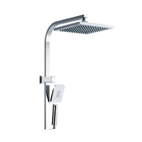 8 Inch Rain Shower Head Set Square Dual Heads Faucet High Pressure