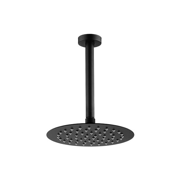 200 Mm 8 Inch Round Black Rainfall Shower Head Ceiling Shower Arm Set