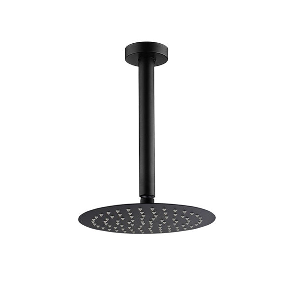10 Inch Round Black Rainfall Shower Head With Ceiling Shower Arm Set