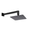 200 Mm 8 Inch Slim Black Rainfall Shower Head 400 Mm Wall Arm Set