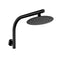 200 Mm Round Black Rainfall Shower Head With Goose Neck Shower Arm Set