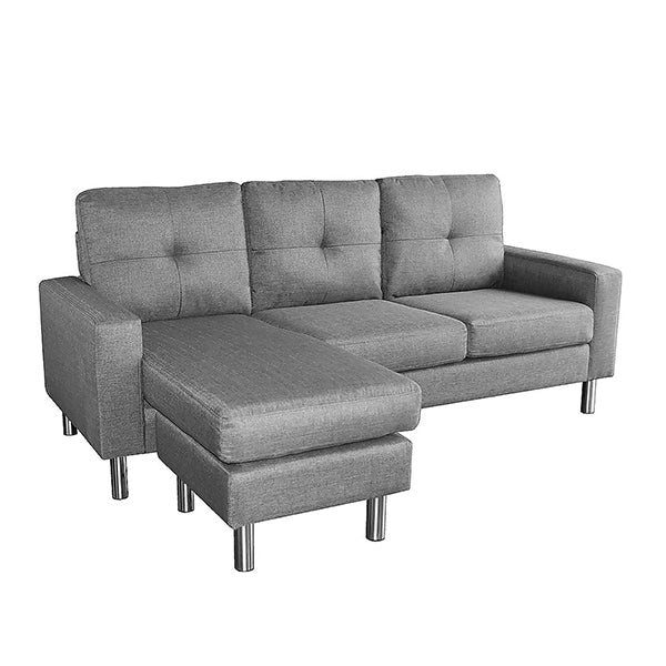 Linen Corner Sofa Couch Lounge Chaise With Metal Legs Grey