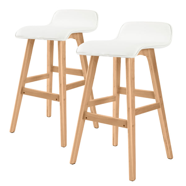 2X Oak Wood Bar Stool 65Cm Leather Sophia White