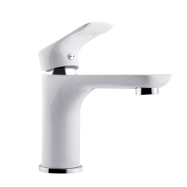 Bathroom White And Chrome Basin Mixer Solid Brass Vanity Tap