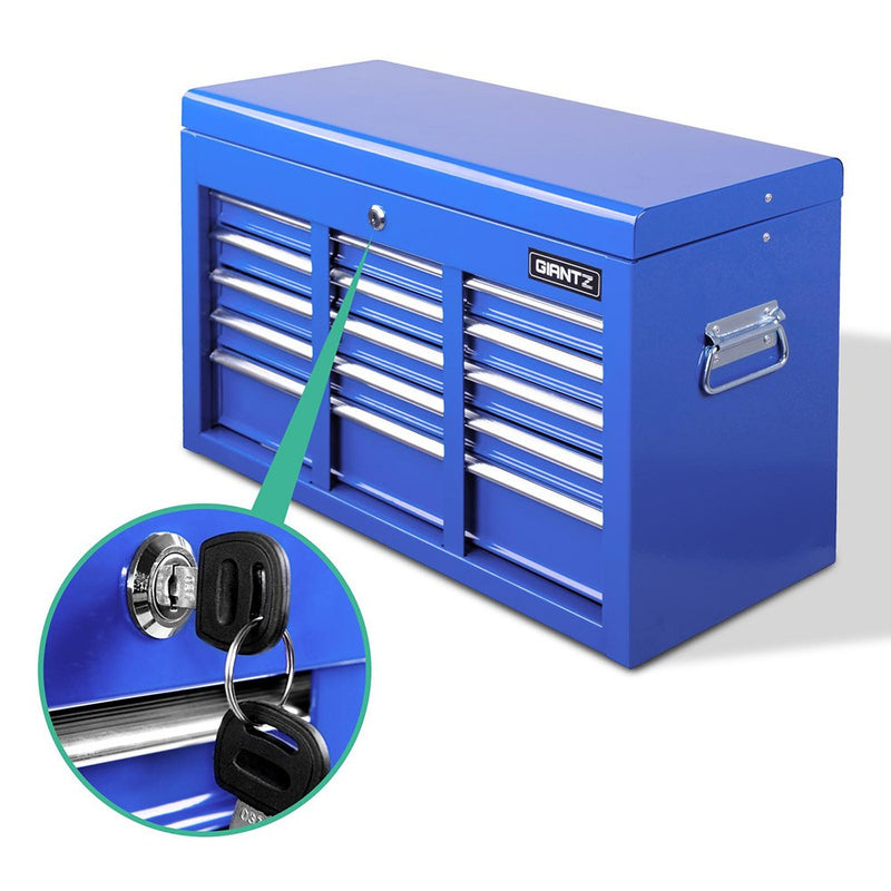 9 Drawers Lockable Chest Cabinet Tool Box Blue