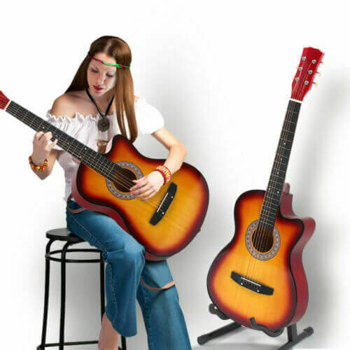 BoPeep 38 Inch Wooden Folk Acoustic Guitar Classical Cutaway Steel String w/ Bag