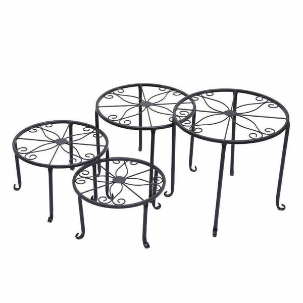 4X Outdoor Indoor Plant Stand Metal Black Flower Pot Garden Decor Rack Round