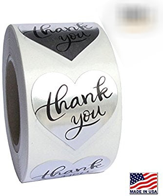 Gold or Silver Foil Thank You Stickers (Premade)