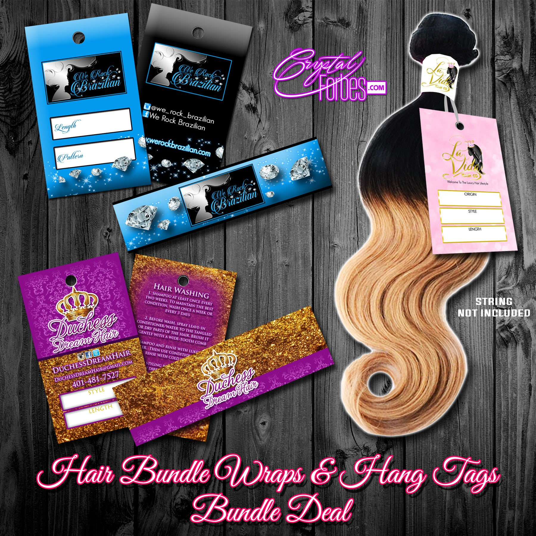 Hair Bundle Wrap Stickers & Hang Tags Bundle Deal
