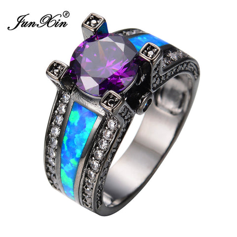 Blue Opal Ring Amethyst Round Zircon Black Gold Filled Ring - Blackwater River Emporium - 1
