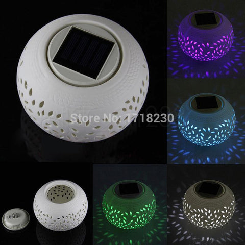 COLOUR CHANGING LED  SOLAR FILIGREE CERAMIC LAMP - Blackwater River Emporium