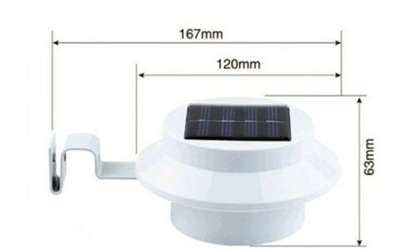 LED Solar Powered Fence Gutter Light Outdoor Garden Yard Wall Pathway Lamp White + Bracket - Blackwater River Emporium - 2