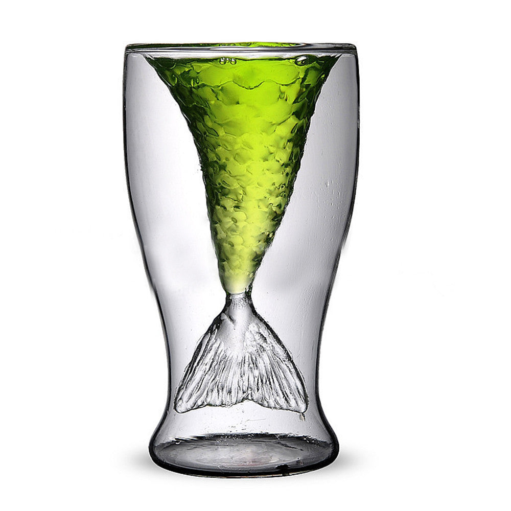 Double Wall Glass Cup Is It A Fish Tail Or A Mermaid Tail??? - Blackwater River Emporium
